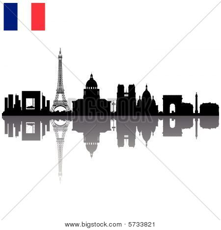 Paris silhouette skyline