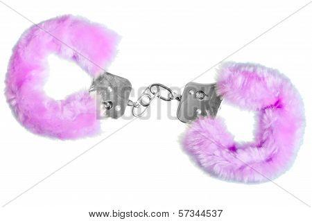 Soft Pink Sexy Handcuffs On White Background