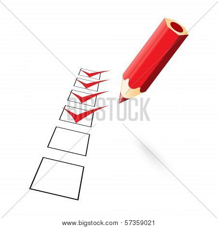 Red Pencil With Drawn Ticks
