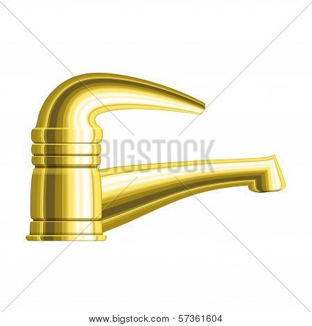 Realistic Golden Water Tap With One Handle. Eps10