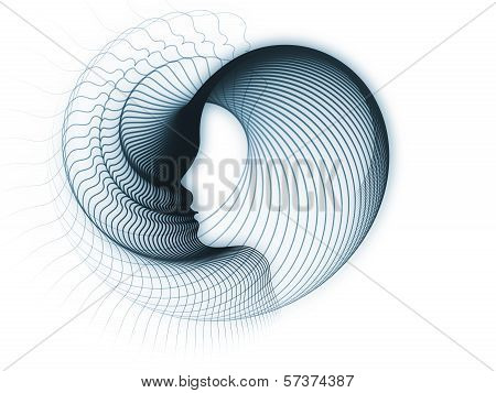 Geometry of Soul series. Background composition of profile lines of human head to complement your layouts on the subject of education science technology and graphic design poster