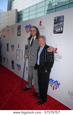 Peter Mayhew and Harrison Ford at