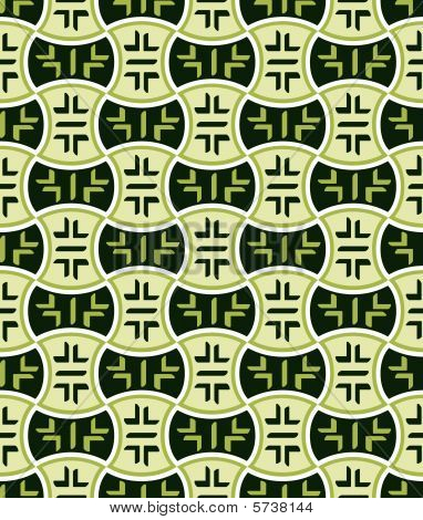Retro japanese seamless pattern in green mood poster