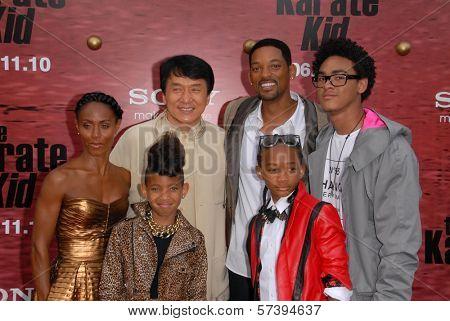 Jada Pinkett Smith, Jackie Chan, Will Smith, Trey Smith, Willow Smith and Jaden Smith at