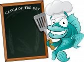 Cute Chef Fish with Spatula and Menu Board. Great illustration of a Cute Cartoon Cod Fish Chef holding a Frying Spatula next to Menu Board. poster