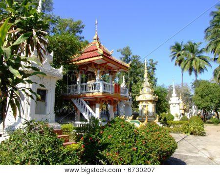 Temple grounds in Vientiane, Laos.