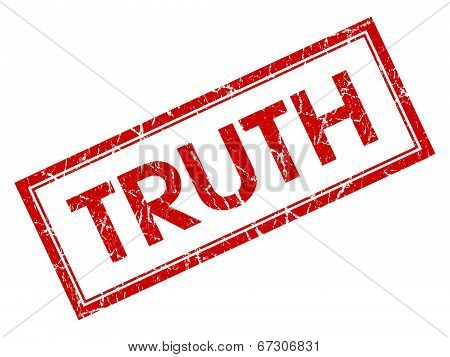 Truth Red Square Grungy Stamp Isolated On White Background