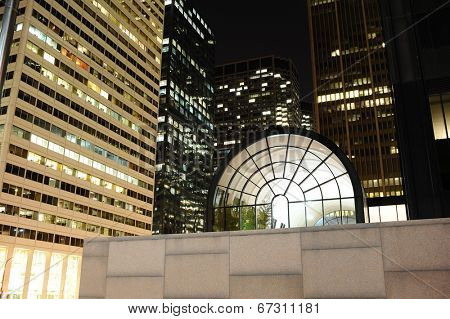CHICAGO, IL - OCT 6: Chicago downtown near Willis Tower at night on October 6, 2011 in Chicago. Chicago is the third most populous city in the United States, after New York City and Los Angeles