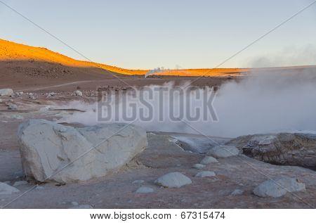 Sol de Manana (Morning Sun) geysers at dawn, Sur Lípez Province, Bolivia