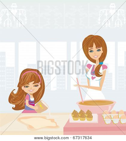 Family mother and her doughter baking cakes , vector illustration poster
