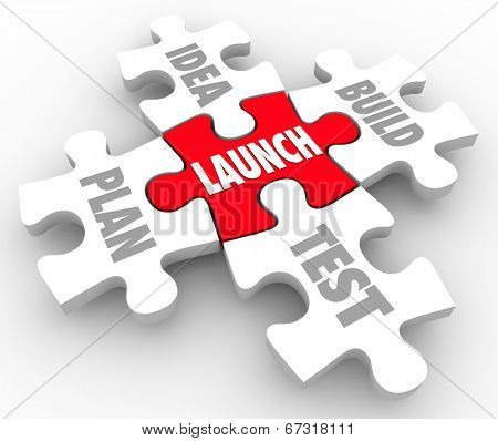 Launch puzzle pieces start new business steps including words Idea, Build, Plan and Test