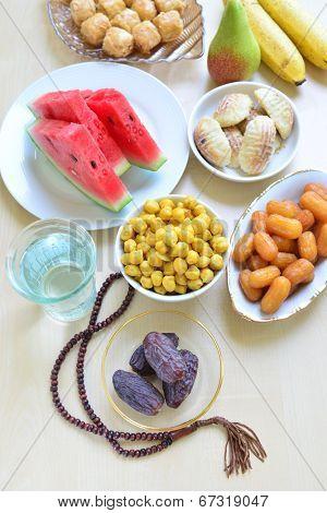 Assorted ramadan special food - bird eye view
