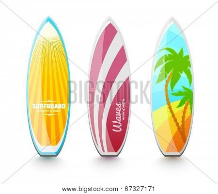 Set of surfboards for surfing. Eps10 vector illustration. Isolated on white background