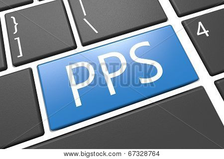 PPS - Pay per Sale - keyboard 3d render illustration with word on blue key poster
