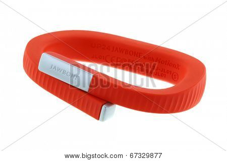 BANGKOK, THAILAND - JUNE 11 2014 : The Jawbone UP24 Wristband in orange on June 11, 2014 in Bangkok, Thailand. The Jawbone UP24 is a wristband to track movement and sleep.