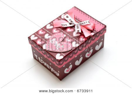 Beautiful hand-made Red Gift Box In White Background