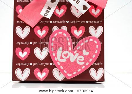 Beautiful hand-made Red Gift Box Details In White Background