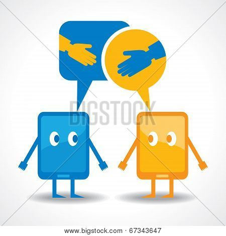 friendship by gadget concept stock vector