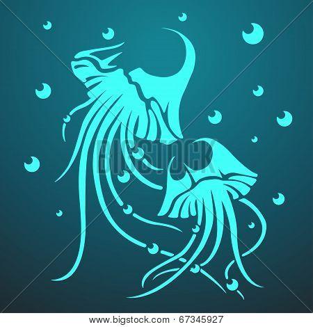 Vector two medusas on the dark blue background. Eps10 poster