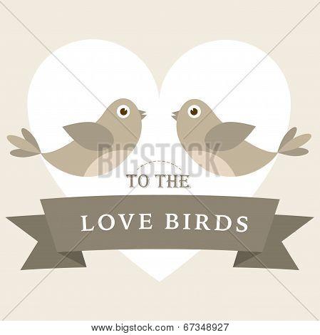 Flying love birds wedding card