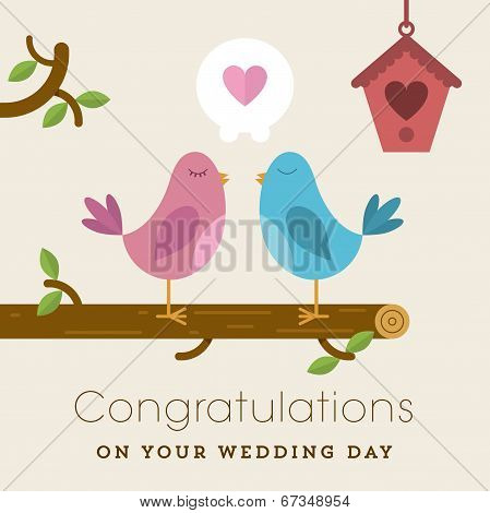 Love birds on a branch wedding card