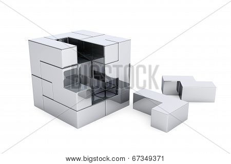 Chrome Cube Brain Teaser Game