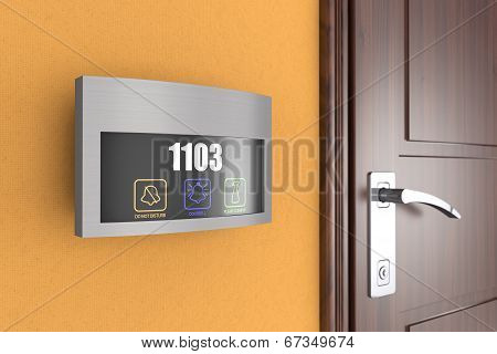 Luxury Hotel Electronic Doorplate Touch Doorbell Switch with Room Number Display poster