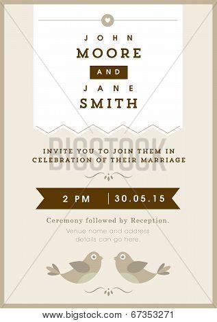 Wedding invitation gold love bird theme