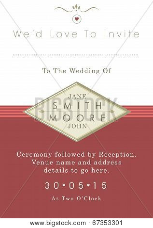 Wedding invitation red and gold ribbon theme