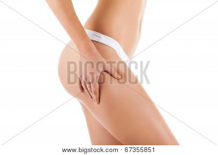 Checking cellulite, woman hip, female body