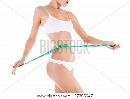 woman measure waist, perfect slim body figure
