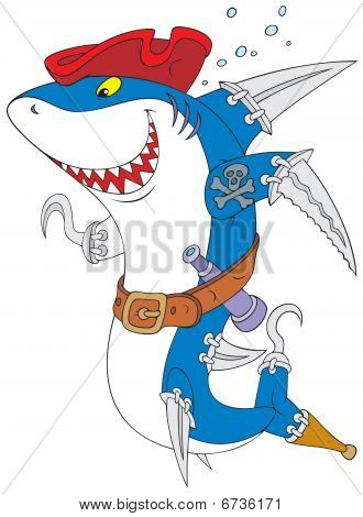The vector clip-art of the great white shark with the swords and hooks instead his fins like a pirate of the Caribbean Sea poster