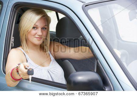 Teenage girl in car