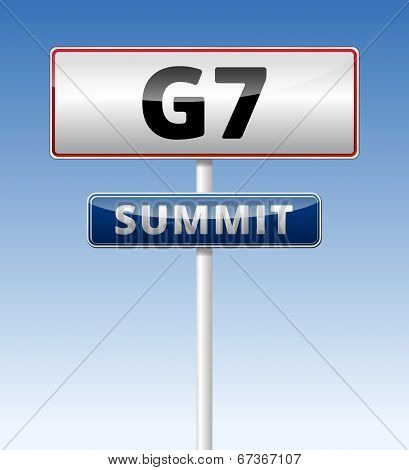 G7 Summit traffic sign with blue sky background. poster
