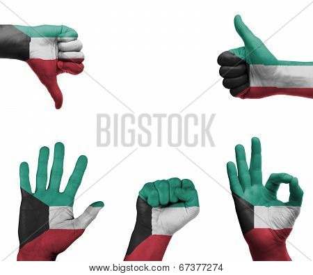 Hand Set With The Flag Of Kuwait