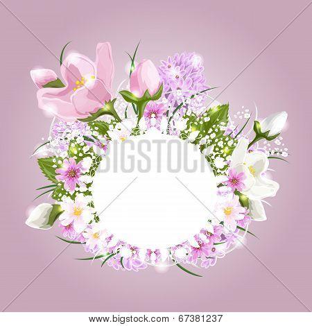 Beautiful floral arrangement with a banner of butterflies