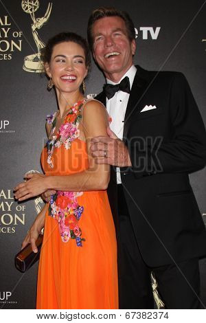 LOS ANGELES - JUN 22:  Amelia Heinle, Peter Bergman at the 2014 Daytime Emmy Awards Arrivals at the Beverly Hilton Hotel on June 22, 2014 in Beverly Hills, CA