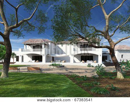 Exterior of luxurious white mediterranean style villa with garden