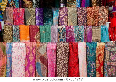 Colorful Pashmina Scarves In Mostar