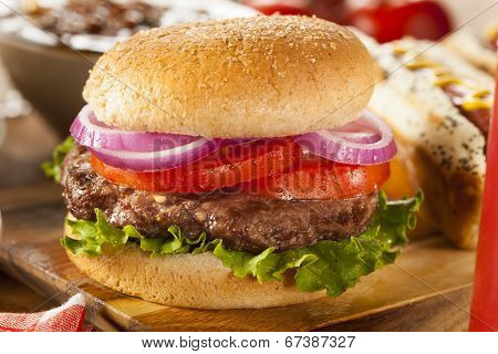 Hearty Grilled Hamburger With Lettuce And Tomato