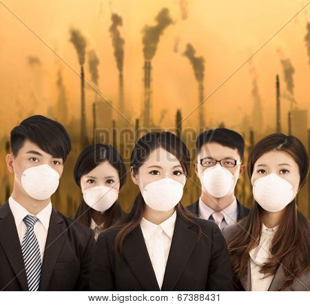 business people was wearing a mask with air pollution background poster