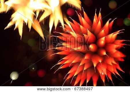 Abstract Firerworks In The Night Sky