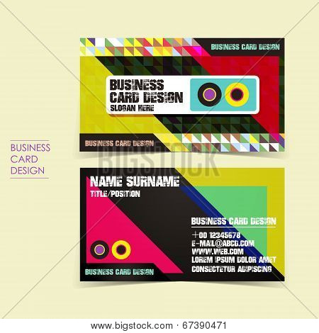 Pixel Background Vector Business Card Set