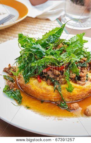 Thai Food, Egg Pudding  With Basil Sauce.