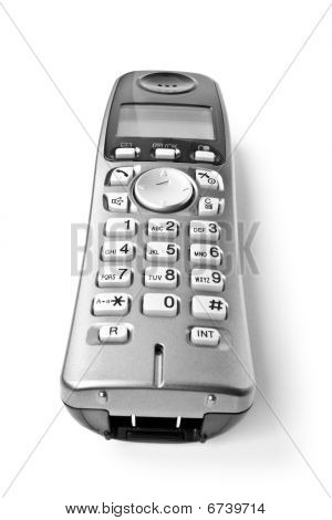office telephone. digital cordless answering system isolated on white poster
