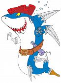 The vector clip-art of the great white shark with the swords and hooks instead his fins like a pirate of the Caribbean Sea t-shirt