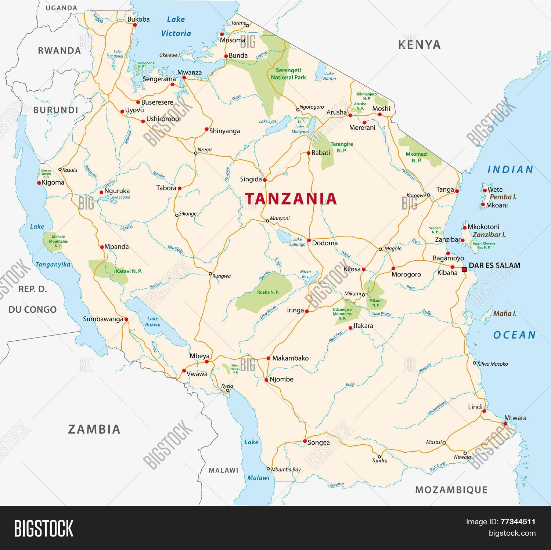 Tanzania road map vector photo bigstock tanzania road map gumiabroncs Image collections