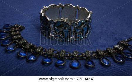blue colored wrist bracelet