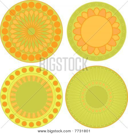 Yellow, orange and green tag or label collection
