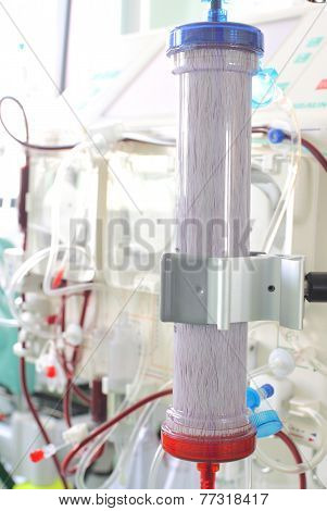 Dialysis Filter On The Background Of Complex Medical Equipment